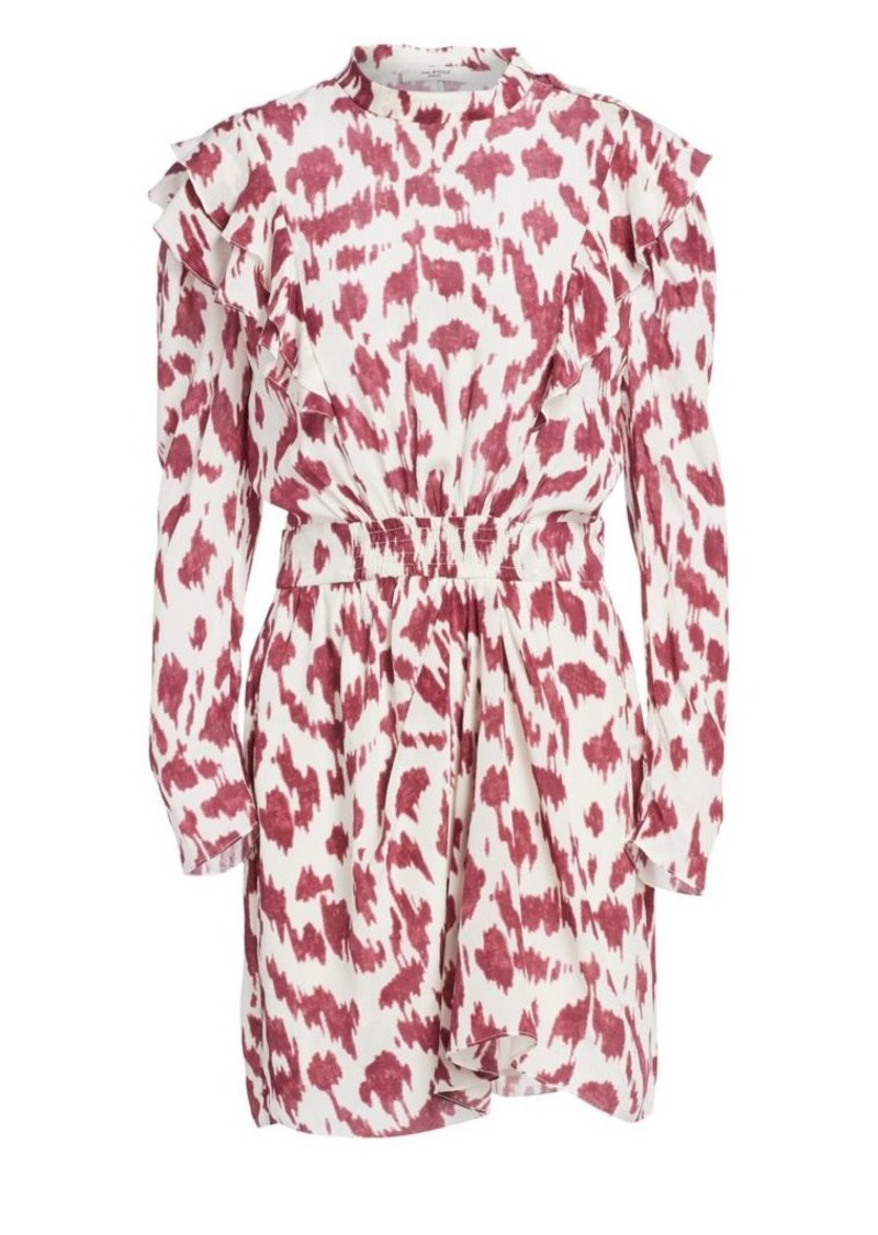 Isabel Marant Yoana Printed Ruffled Silk Sheath Dress