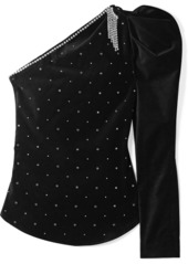 Isabel Marant Zeke Crystal-embellished One-shoulder Velvet Top