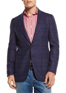 Isaia Boucle Plaid Two-Button Sport Coat