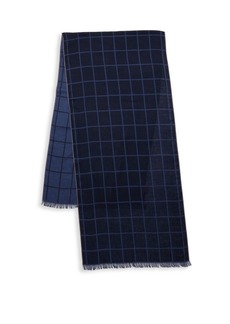 Isaia Check Cashmere & Silk Scarf