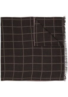 Isaia check frayed scarf