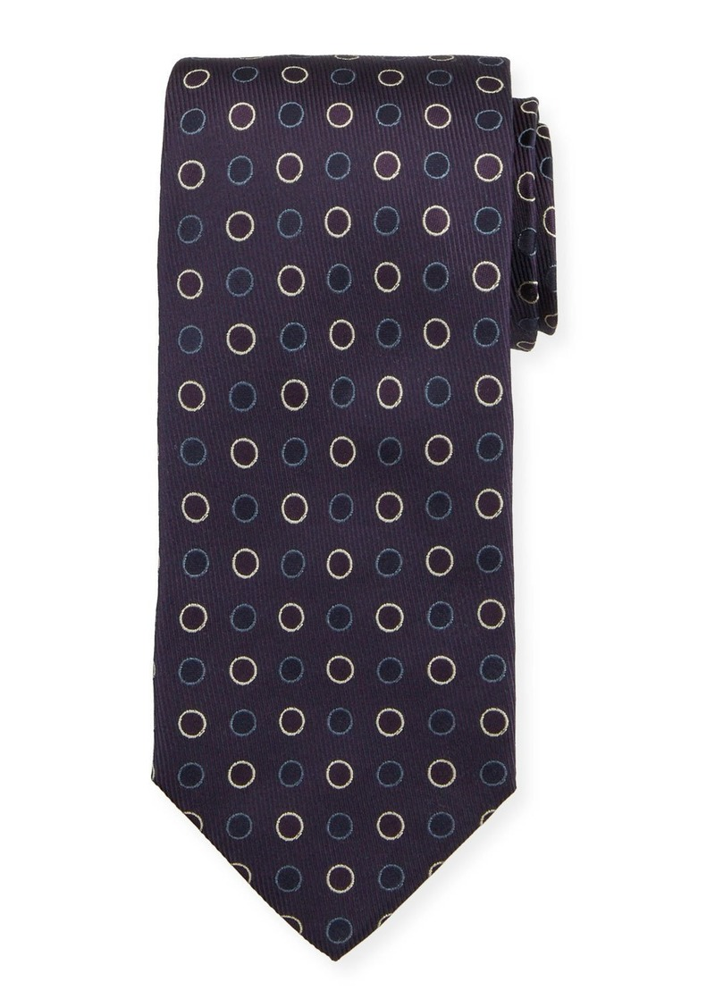 Isaia Circles-Pattern Silk Tie