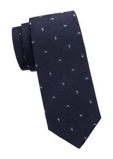 Isaia Cravatta Mini Paisley Silk Tie