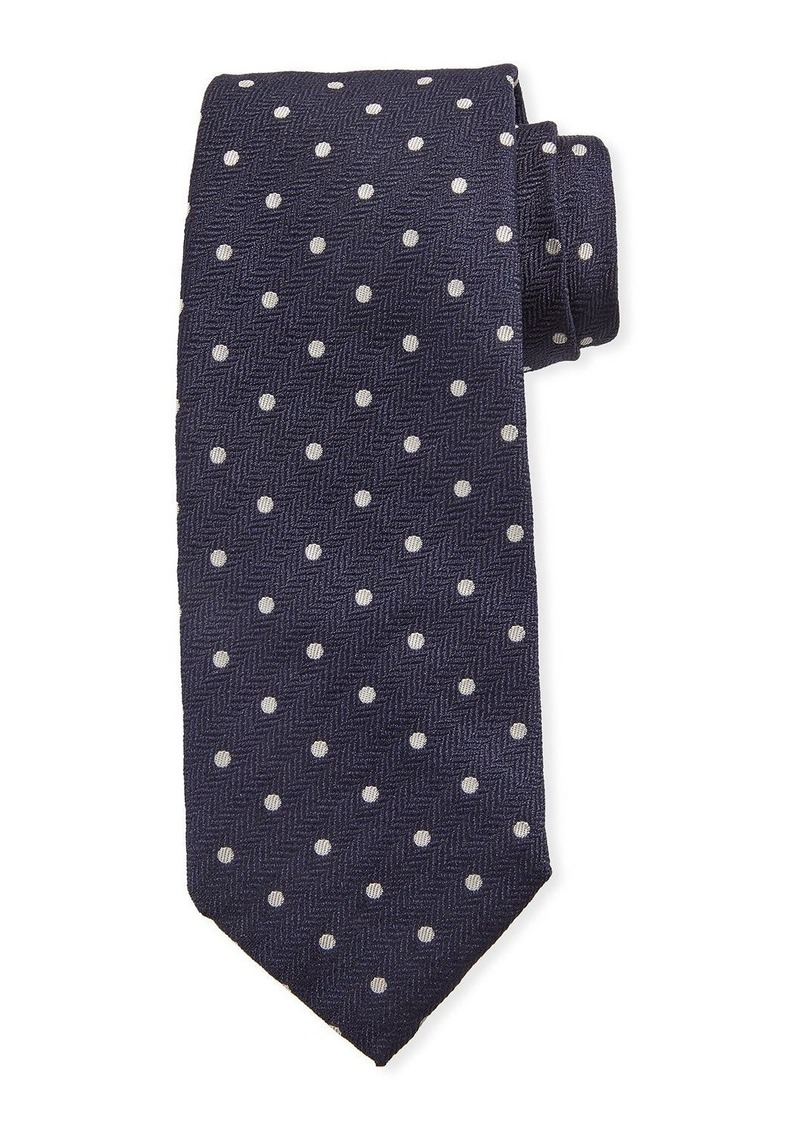 Isaia Dot-Pattern Silk Tie  Navy Blue