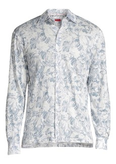 Isaia Floral Long-Sleeve Linen Button-Down Shirt