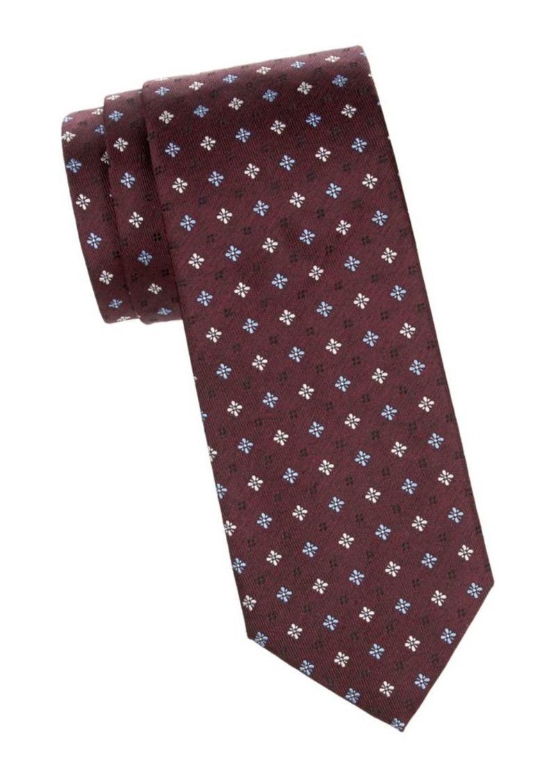 Isaia Floral-Print Silk Tie