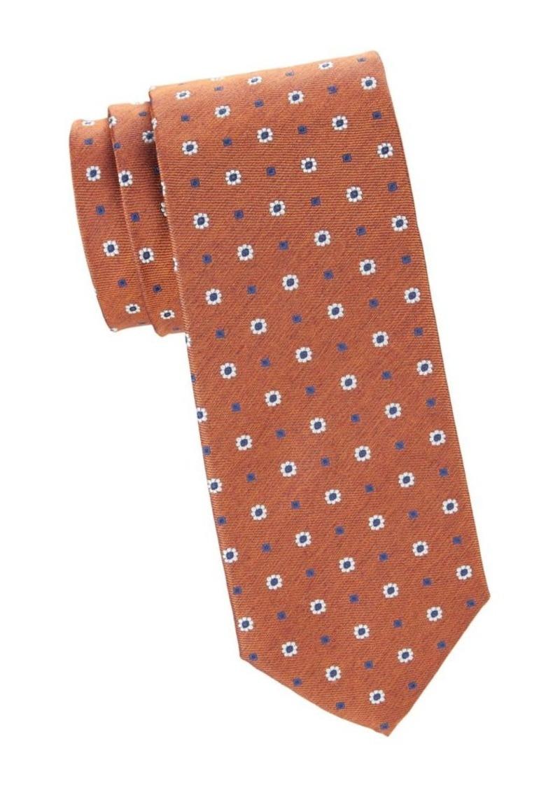 Isaia Flower & Diamond Print Silk Tie