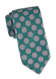 Isaia Geometric Floral Silk Tie