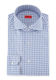 Isaia Box-Check Cotton Dress Shirt
