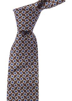 Isaia Brown & Blue Geometric Silk Tie