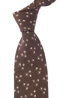 Isaia Brown Geometric Linen Tie