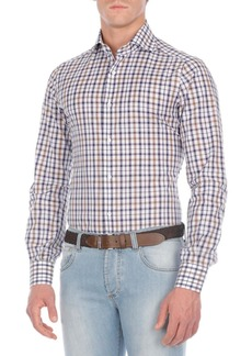 Isaia Checked Cotton Sport Shirt