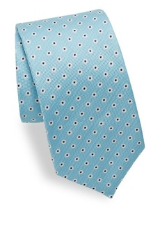 Isaia Circle Dot Print Silk Tie