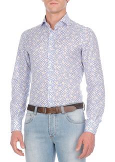 Isaia Circle-Print Cotton-Blend Sport Shirt