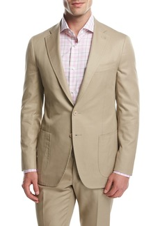 Isaia Domenico Cotton Two-Button Blazer  Khaki