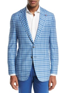 Isaia Domenico Gingham Two-Button Sport Coat