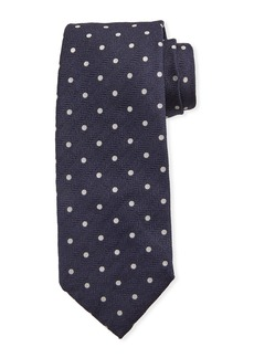 Isaia Dot-Pattern Silk Tie  Navy Blue