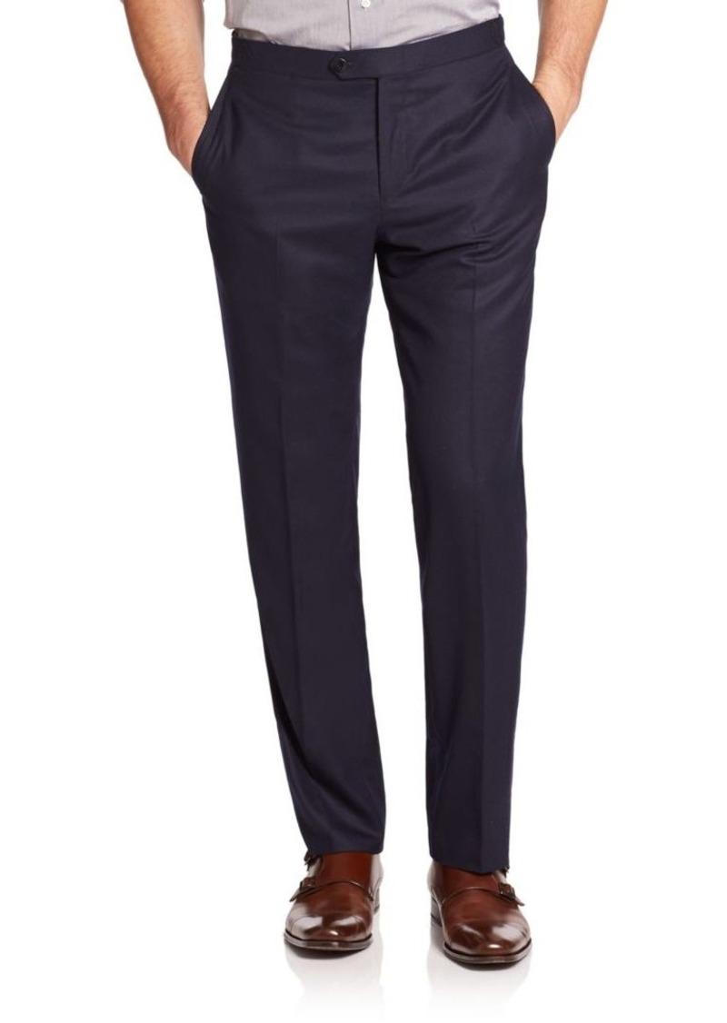ISAIA Flat-Front Italian Wool Pants