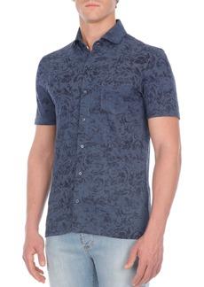 Isaia Floral-Print Short-Sleeve Sport Shirt