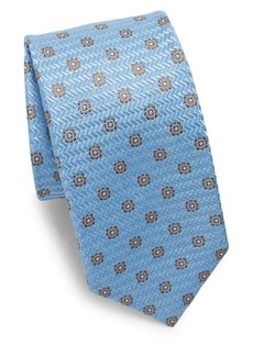 Isaia Flower Medallion Silk Tie
