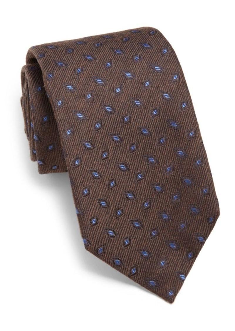 ISAIA Framed Diamond SIlk & Wool Tie