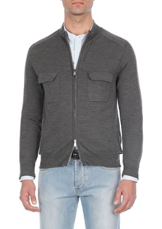 Isaia Heathered Wool Two-Way Zip Sweater