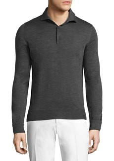 Isaia Long Sleeve Knit Polo