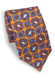 Isaia Medallion Printed Silk Tie