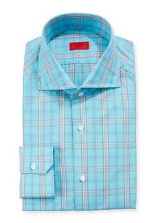 Isaia Men's Aqua Plaid Dress Shirt