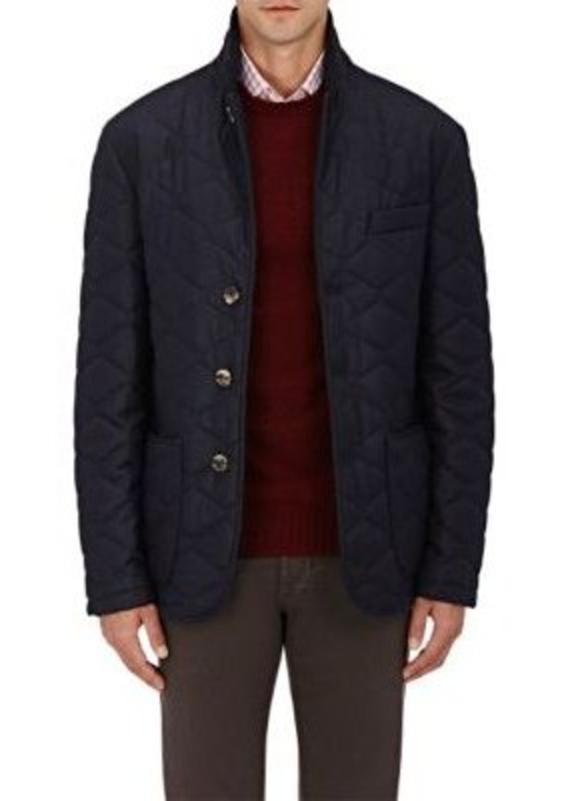Isaia Men's Cashmere Down-Quilted Jacket-NAVY Size XL