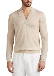Isaia Men's Cashmere Wide-V-Neck Long-Sleeve Shirt