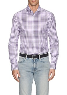 Isaia Men's Checked Cotton Poplin Shirt