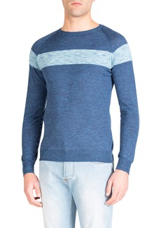 Isaia Men's Chest-Striped Wool Sweater