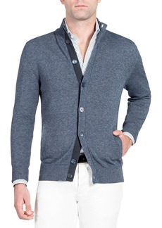 Isaia Men's Denim-Effect Stand-Collar Cardigan