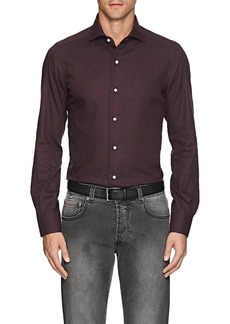 Isaia Men's Floral Brushed Cotton Twill Shirt
