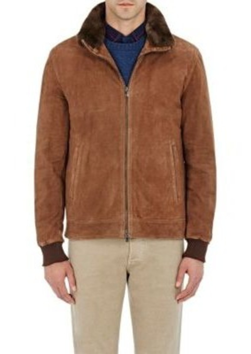 Isaia Men's Fur-Lined Waterproof Suede Jacket-BROWN Size L