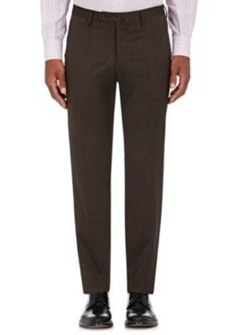 Isaia Men's G Body Wool-Blend Twill Trousers-BROWN Size 32