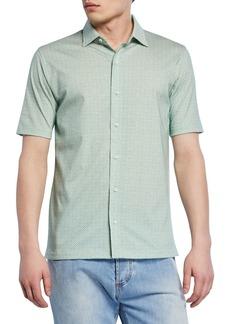 Isaia Men's Geometric Short-Sleeve Sport Shirt