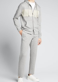 Isaia Men's Heathered Linen-Blend Track Suit