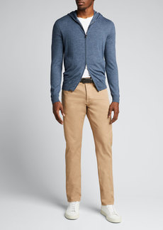 Isaia Men's Heathered Wool Hooded Zip Sweater