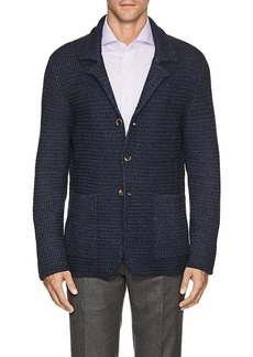 Isaia Men's Honeycomb-Knit Merino Wool Cardigan