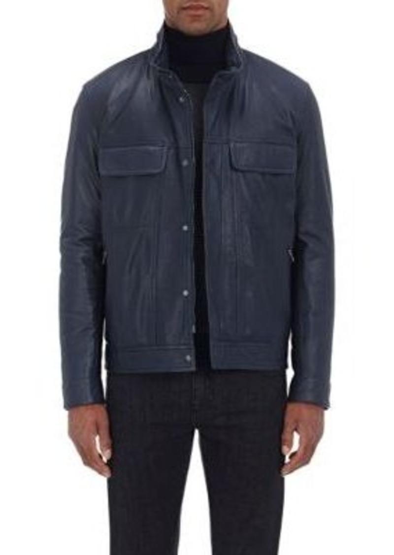Isaia Men's Leather Bomber Jacket-NAVY Size M