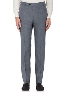 Isaia Men's Linen Flat-Front Trousers