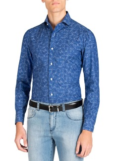 Isaia Men's Long Sleeve Floral Print Sport Shirt