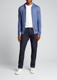 Isaia Men's Marl Denim-Effect Wool Zip Hoodie