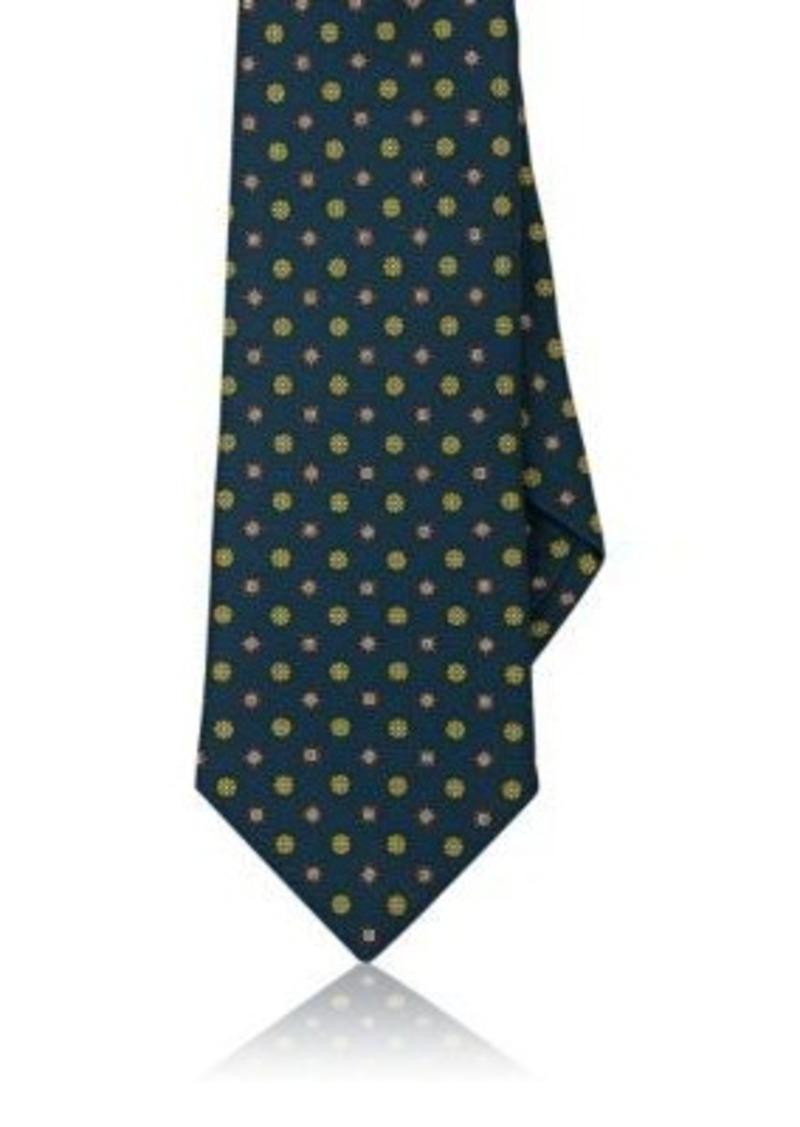 Isaia Men's Medallion-Pattern Silk Necktie-Green