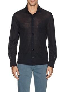 Isaia Men's Merino Wool Jersey Shirt