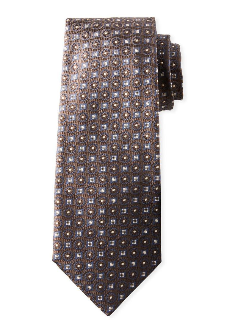 Isaia Men's Micro-Squares & Dots Silk Tie