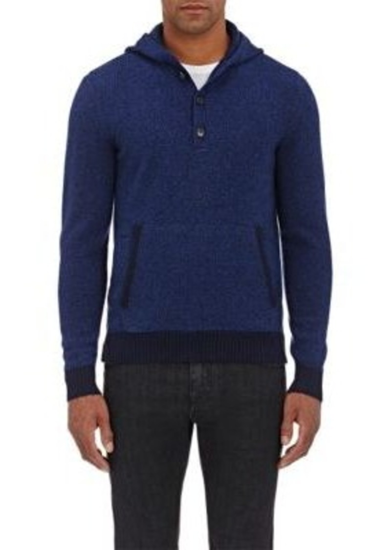 Isaia Men's Mélange Hooded Sweater-Navy Size S