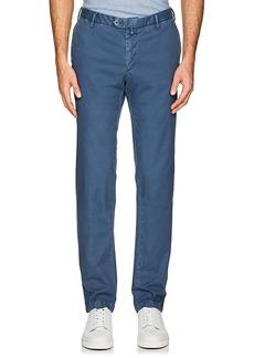 Isaia Men's Piqué Cotton Slim Trousers